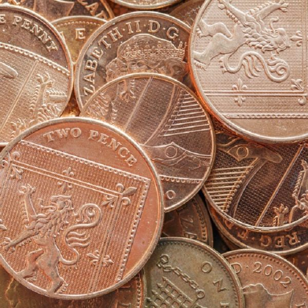 2 pence coins